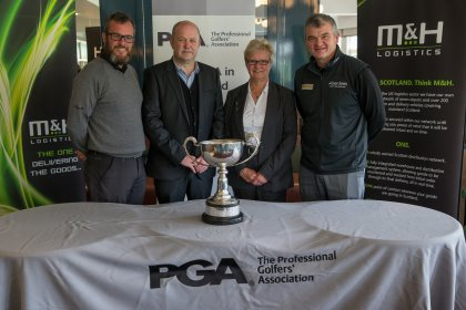Pictured at Gleneagles following the announcement are current Scottish PGA Champion Chris Kelly, past Champion Paul Lawrie, M&H Logistics Managing Director Tom Wotherspoon and Secretary of the PGA in Scotland Shona Malcolm (image courtesy of Kenny Smith)