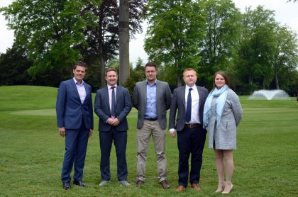 QHotels' group golf director John Angus (left) with Whole in One Golf directors Dan Weir, Nick Williams, Chris Bradshaw and Kelly Bradshaw