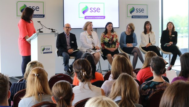 from left Colin Sloman, MD Accenture Consulting; Jennie Price, CEO, Sport England; Stephanie Zinser, CFO & Owner, Lynx Golf; Rachel McEwen, Director of Sustainability, SSE; Liz Dimmock, Founder & CEO, Women Ahead; Sally Horrox, CEO, Y Sport