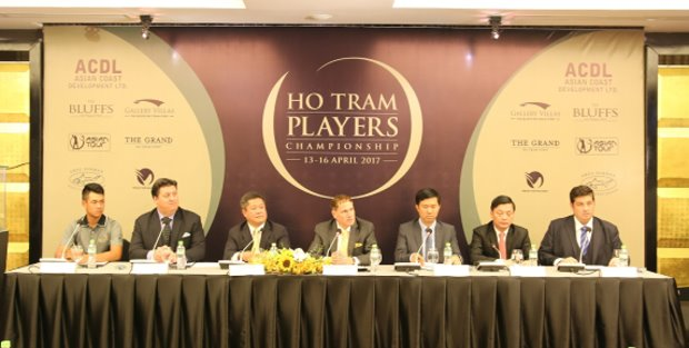 The Ho Tram Players Championship is announced at The Bluffs, Ho Tram Strip by (from left) Anthony Tru'ong (Vietnam #1 Amateur golfer), Ben Styles (Vice President of Golf & Residential Development, Ho Tram Strip), Kyi Hla Han (Commissioner, Asian Tour), Michael E. Kelly (Executive Chairman, Asian Coast Development Ltd), Nguyen Van Cu'u (Secretary General, Vietnam Golf Association), Nguyen Thanh Long (Vice Chairman, Ba Ria-Vung Tau People's Committee, Jed Moore (Tournament Promoter, Performance54)