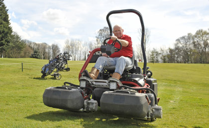 """""""Toro came top, no argument,"""" says head greenkeeper Dave Macavay, pictured on one of the club's new machines"""