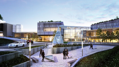 A computer generated image of how the entrance to the new Wales International Convention Centre at Celtic Manor will look. (Picture credit: Scott Brownrigg)