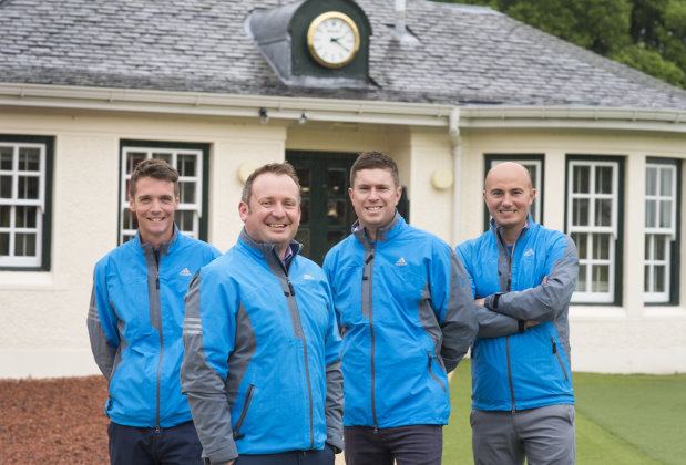 Members of The PGA National Golf Academy team: L to R: Calum Lawson (PGA Golf Professional), Andrew Jowett (PGA Head Professional), Fraser Dunlop (Academy Manager) and Matthew Galley (PGA Head of Instruction)