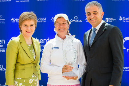 Catriona Matthew with First Minister Nicola Sturgeon and Ladies European Tour CEO Ivan Khodabakhsh photo credit: Tristan Jones