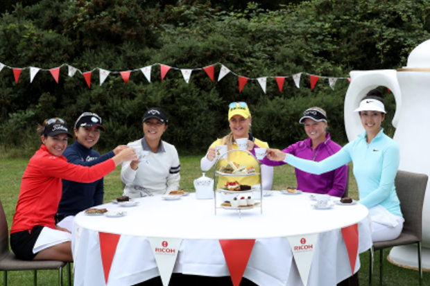 (from left) Brittany Lang, Mika Miyazato, Lydia Ko, Charley Hull, Brooke Henderson, Michelle Wie (Getty Images)