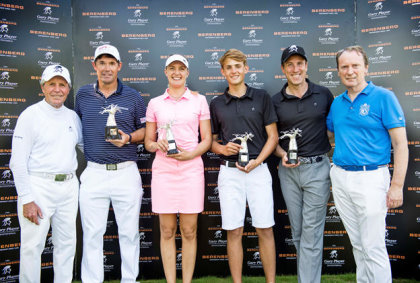 (from left) Gary Player, Padraig Harrington, Caroline Martens, John Richardson, Anton du Beke, Dr Hans-Walter Peters