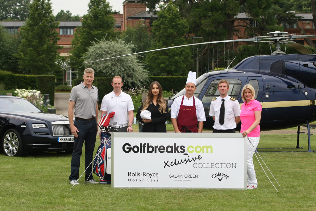 from left Golfbreaks.com Chief Executive and Founder, Andrew Stanley with PGA Professional (James Sibbles), spa therapist (Felicity Watson), chef (Calvin Hill), helicopter pilot (Tom McLean) and Xclusive Collection Ambassador and Sky Sports presenter Sarah Stirk.