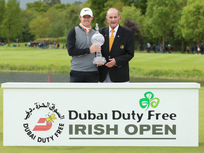 Rory McIlroy with Colm McLoughlin, Executive Vice Chairman & CEO, Dubai Duty Free (Getty Images)