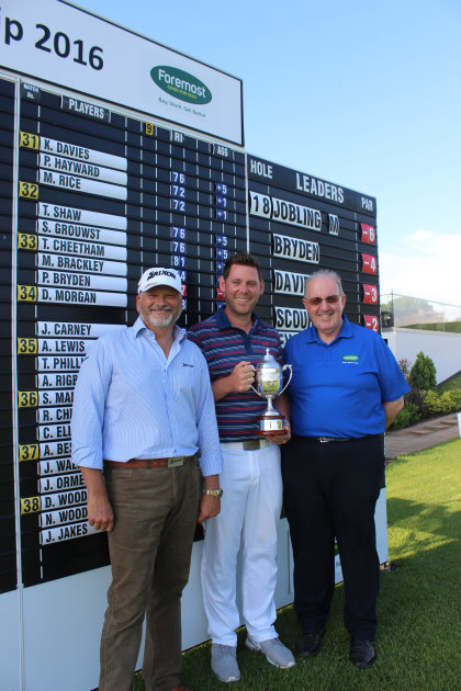 President of Srixon Sports Europe Leslie Hepsworth, winner Martyn Jobling and Foremost CEO Paul Hedges