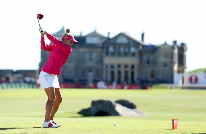 Carly Booth of Scotland on the 18th hole during final practice as a preview for the 2013 Ricoh Women's British Open on the Old Course at St Andrews on July 31, 2013 in St Andrews, Scotland. (Photo by Warren Little/Getty Images)