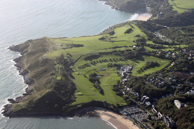 Langland Bay aerial view