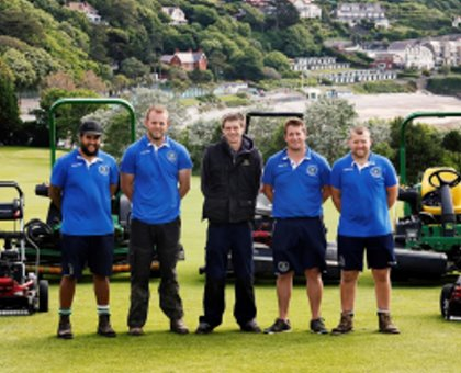 (from left) Jamie Bidois, Scott Johnson, Rob Honey (H-Greenkeeper) Darren Burfitt (Deputy), Simon Lacey