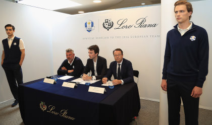 Darren Clarke, European Ryder Cup Captain, Antione Arnault, Loro Piana and Pascal Grizot, president of Ryder Cup France pictured during the launch of the official Clothing Suppliers to European Ryder Cup Team (Photo by Matthew Lewis/Getty Images)