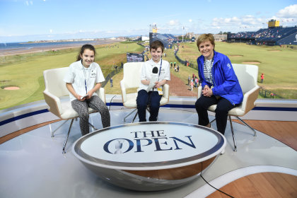 Sky Junior Reporters Mia Sterini and Lee Mitchell from Ayr Grammar with Scotland's First Minister Nicola Sturgeon at The 145th Open (The R&A)Championship at Royal Troon on July 14, 2016 in Troon, Scotland (The R&A)