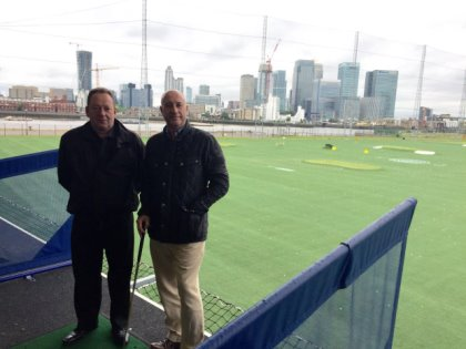 Phil Richins (left) from N1 Golf Venues with Brendan Dwyer from La Manga Club at Greenwich Peninsular