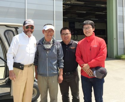 From left: James Prusa, Golf Courses and Laboratory Director of SKY72, Kyung-ho Yun, Jack Nicklaus Golf Club of Korea Superintendent, Li Mengsheng, Jacobsen Product Support Manager, Hyun Cho, who SKY72 Course Support Team Superintendent