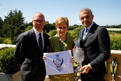(from left) Guy Kinnings, IMG Golf; Scotland's First Minister, Nicola Sturgeon; Ivan Khodabakhsh, Ladies European Tour