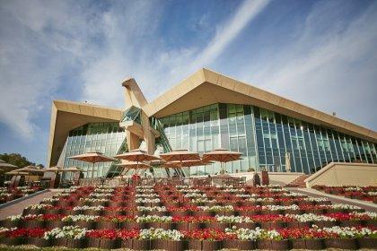 The stunning Falcon clubhouse at Abu Dhabi Golf Club