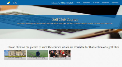 Xact Group golf training web page
