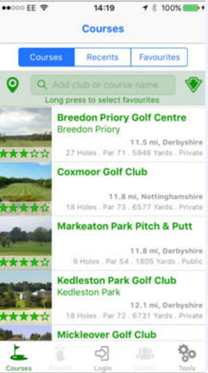 Golfshape App course search
