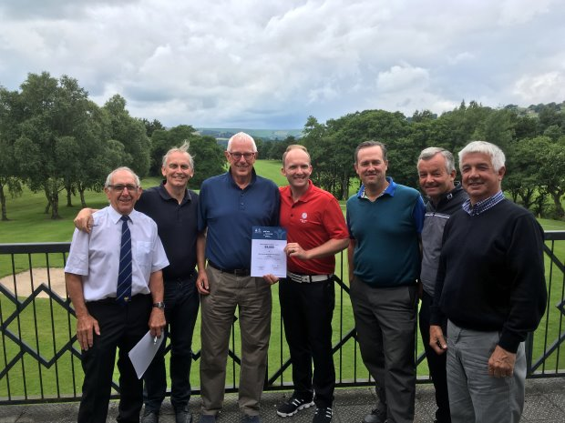 left to right) Tony Gee (Buxton High Peak GC), Chris Hall (New Mills GC), Ric Boffey (New Mills GC & Group Chairman) with regional officer Gareth Shaw (England Golf), Simon Townend (Cavendish GC), Dave Cullen (New Mills GC) and Pat Campbell (Cavendish GC)