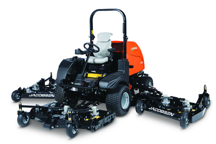 In its 95th year, Jacobsen introduces the HR Series of wide-area rotaries, which includes the HR600, HR700 (pictured here) and HR800. The mowers offer industry leading productivity, serviceability and comfort