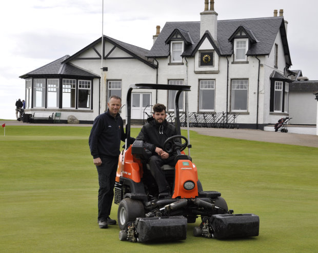 Robert Patterson, left, with Mark Mclaren assistant green keeper, in front of the Royal Aberdeen clubhouse