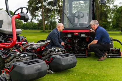 Easingwold course manager Andre Erlah, left, and Paul Nicholls from Russell Groundcare with the club's two new Toro mowers