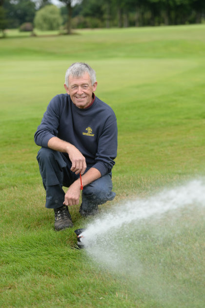 Mike Greenwood operating the Sprinklers. Newly installed Toro irrigation system at Ormskirk Golf Club. Disclaimer: While Cavendish Press (Manchester) Ltd uses its' best endeavours to establish the copyright and authenticity of all pictures supplied, it accepts no liability for any damage, loss or legal action caused by the use of images supplied. The publication of images is solely at your discretion. For terms and conditions see http://www.cavendish-press.co.uk/pages/terms-and-conditions.aspx