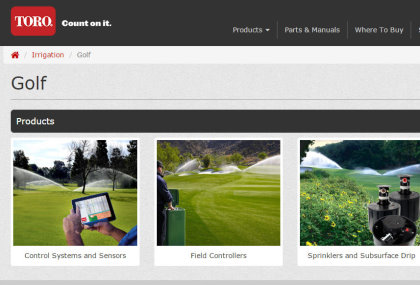 Toro irrigation website page