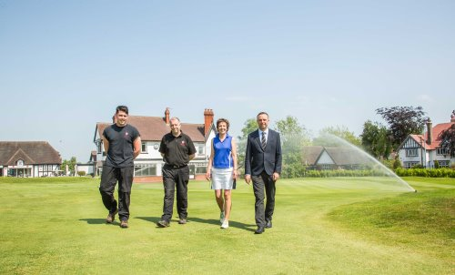From left: Trentham Golf Club's assistant course manager James Fox, course manager Ed Stant, chairman Julie Wright and Reesink's Robert Jackson.