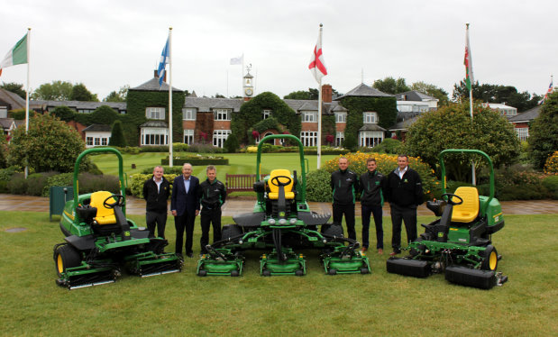 Deere & Company chairman & chief executive officer Samuel R Allen (second left) visited The Belfry in August, and is pictured here with (left to right) Brian D'Arcy of John Deere Limited, The Belfry's Angus Macleod and Jamie Brooks, dealer Matt Gilks of Farol Hinckley, Nick Ashman of John Deere Limited and a selection of the new John Deere mowers