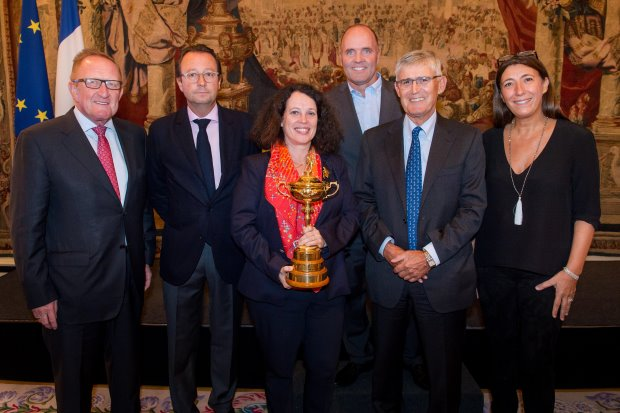 from left) Richard Hills, European Ryder Cup Director; Pascal Grizot, President of the France Ryder Cup 2018 Committee; Her Excellency Ms Sylvie Bermann, French Ambassador to the UK; Thomas Levet, former Ryder Cup player; David Williams, Chairman of the European Tour; Florence Gomez, Managing Director, French Chamber of Great Britain gathered at the Residence of the French Ambassador to the United Kingdom where they announced the dates of The 2018 Ryder Cup at Le Golf National in Paris