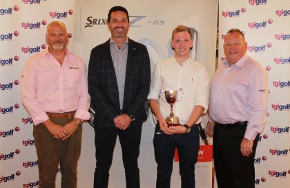 Srixon Amateur Champion Matthew Mallon (centre with trophy) pictured with his Banbridge PGA Professional Jason Greenaway (centre left), Srixon President Leslie Hepsworth (left) and TGI Golf Managing Director Eddie Reid (right).