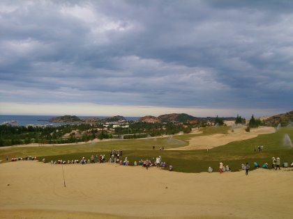 The spectacular 18th hole on the second course at FLC Quy Nhon Golf Links is nearing completion
