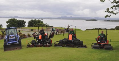 The Aberdour greenkeeping team on a selection of the machinery from Jacobsen