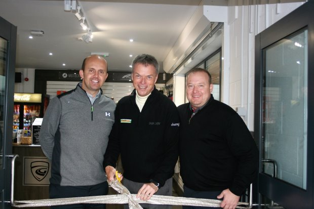(from left) Academy Manager, Lee Edwards, Gary Wolstenholme MBE and Retail Manager, Andrew Pickering cut the ribbon at the official opening of Carus Green's new golf centre