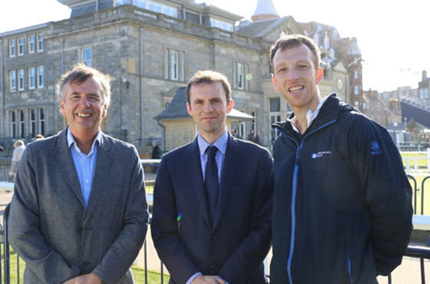 Dr Roger Hawkes, Stephen Gethins MP and Dr Andrew Murray at The Old Course, St Andrews
