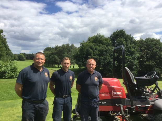Eltham Warren Greenkeeping staff (from left) Ken Thompson, Tom Hubbard and Richard Hopgood (courtesy of Vince Ellis/The PGA)
