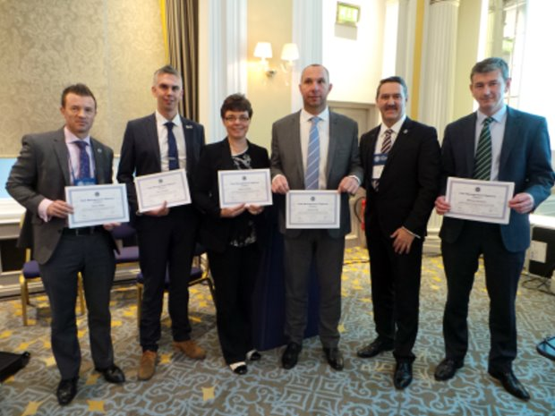 The Diploma recipients with CMAE President Marc Newey; from left Simon Baker, Iain Lancaster, Sharon Heeley, Andrew Hill, Marc Newey and Michael Newland