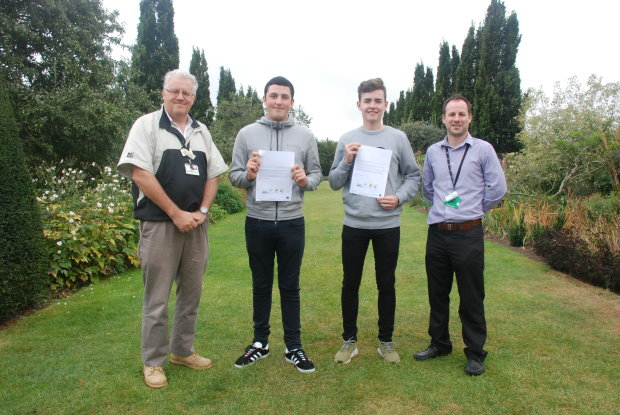 (from left) Paul Copsey, Work Based Assessor - Hadlow College, apprentices Callum Melody and Adam Richardson and Anthony Stockwell, Sports Turf Assessor – Hadlow College