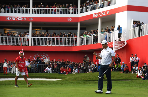 SHANGHAI, CHINA - OCTOBER 30: Hideki Matsuyama of Japan celebrates victory on the 18th green during day four of the WGC - HSBC Champions at Sheshan International Golf Club on October 30, 2016 in Shanghai, China. (Photo by Ross Kinnaird/Getty Images)
