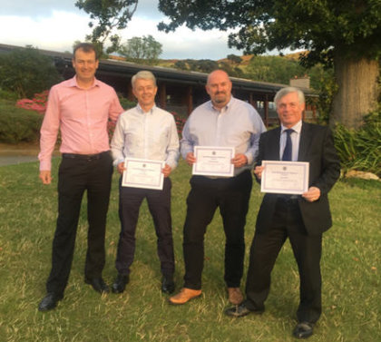 The Diploma recipients with CMAE's Director of Education Michael Braidwood. From left to right Michael, Ian, Derek, Gay