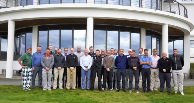 The Fourth Leading Edge Series event delegates outside the iconic Castle Stuart Golf Links clubhouse
