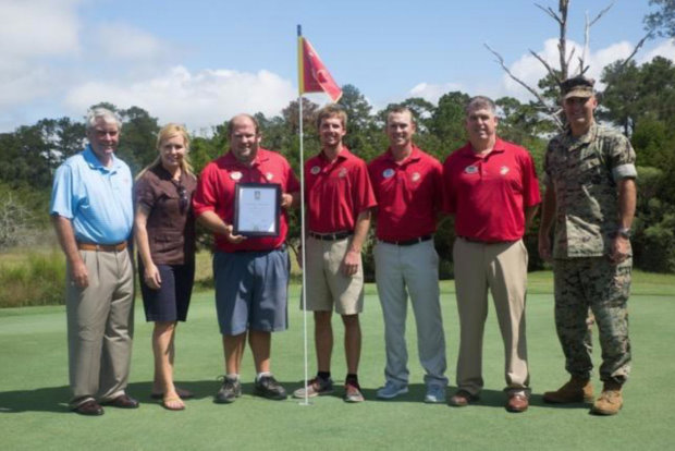 The Legends at Parris Island receive their GEO Certified® Certificate. From Left to Right: Clyde Johnston, Golf Course Architect, Experience Green Board of Directors; Teresa Wade, Founder, Experience Green; Russ Hadaway, Golf Course Superintendent, The Legends; Doug Moss, Golf Course Assistant Superintendent, The Legends; Cody Carter, Assistant Golf Professional, The Legends; Andy Hinson, PGA Head Professional, The Legends; Colonel. Jeffrey Fultz, Chief of Staff, Marine Corps Recruit Depot. Parris Island (Photo by Pfc. Maximiliano Bavastro)