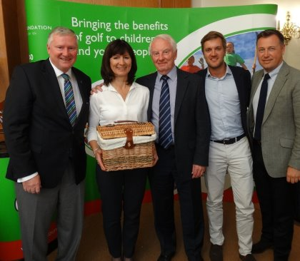 The runners-up from The European Tour, with Golf Foundation Chairman Stephen Lewis (left)