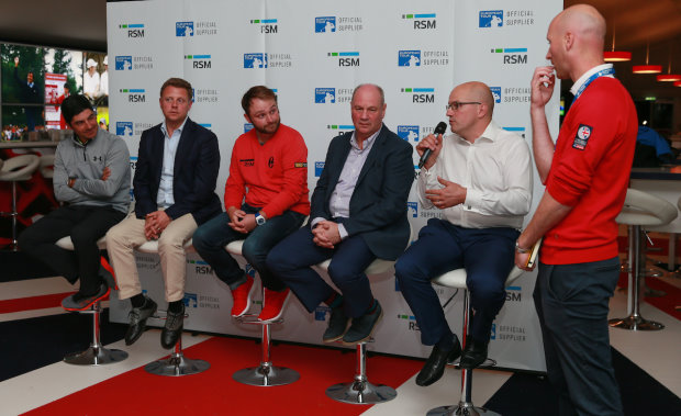 (from left) European tour player Felipe Aguilar; Nathan Homer, Chief Commercial & Marketing Officer at the European Tour; RSM golf ambassador Andy Sullivan; David Gwilliam, RSM Chief Operating Officer; Dr Matt Bridge from the University of Birmingham; and Steve Todd, Deputy Media Communications Director at the European Tour at the launch of the RSM player performance study