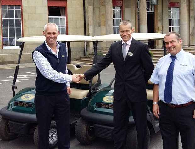 from left: Kevin Hart, Club Car Sales Director Golf – EMEA, Tim Hudspith, Director of Golf at Shrigley Hall Hotel, Golf & Country Club and Peter Earl, Sales and Business Development Manager at Oakleys