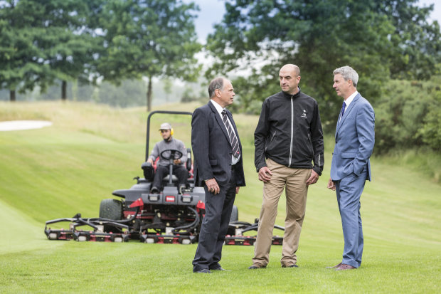 (from left) Reesink Turfcare's Jeff Anguige with The Wisley's director of greens John Lockyer and Toro's Andrew Brown.
