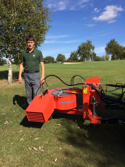 Lee Sayers, Course Manager, at Mid Kent GC, Gravesend with Wiedenmann Whisper Twister as supplied by dealer Ernest Doe & Sons, Dartford